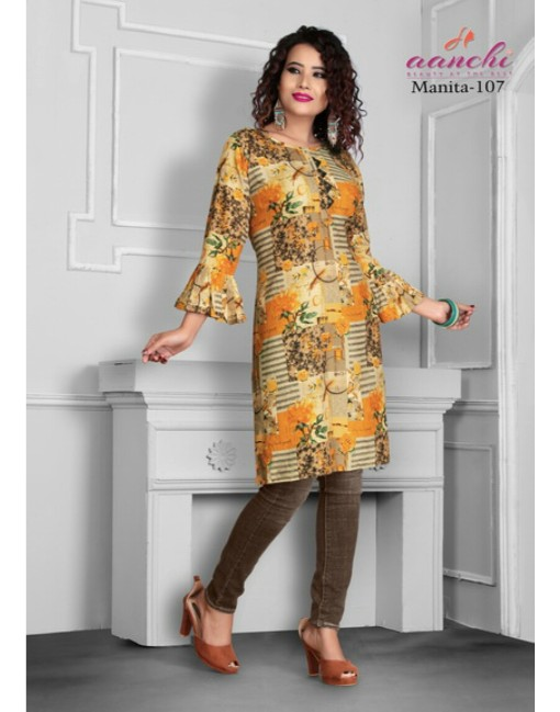 Rs 423 Pc Aanchi Manita Stitched Kurti Wholesale Catalog 08 pcs