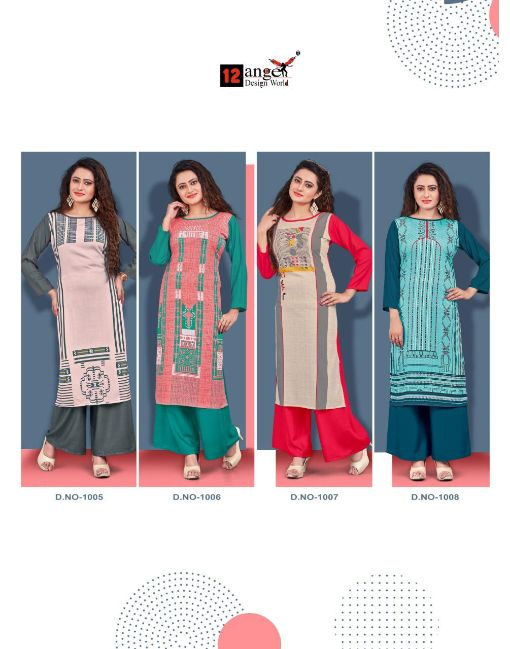 Rs 495 Pc Angel Heritage Vol 5 Kurti With Palazzo Wholesale Catalog 08 pcs