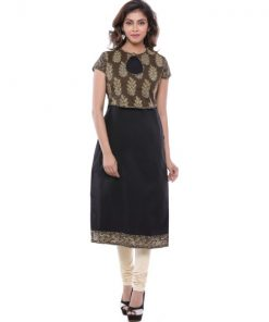 Black Cotton Kurta With Sewn In Black Printed Jacket 4 Pieces Set