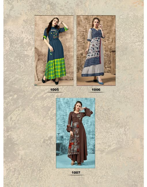 Rs 554 Pc Diksha Creation Free Style Vol 1 Stitched Kurti Wholesale Catalog 07 pcs