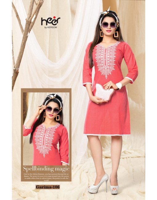 Rs 377 Piece - Heer By Kersom Garima Stitched kurti Wholesale Catalog 08 pcs