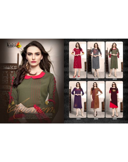 Rs 450 Pc Kajri Style Priya Vol 3 Stitched Kurti Wholesale Catalog 06 pcs