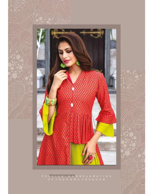 Rs 650 Pc Kiana Culture Vol 4 Stitched Kurti Wholesale Catalog 08 pcs