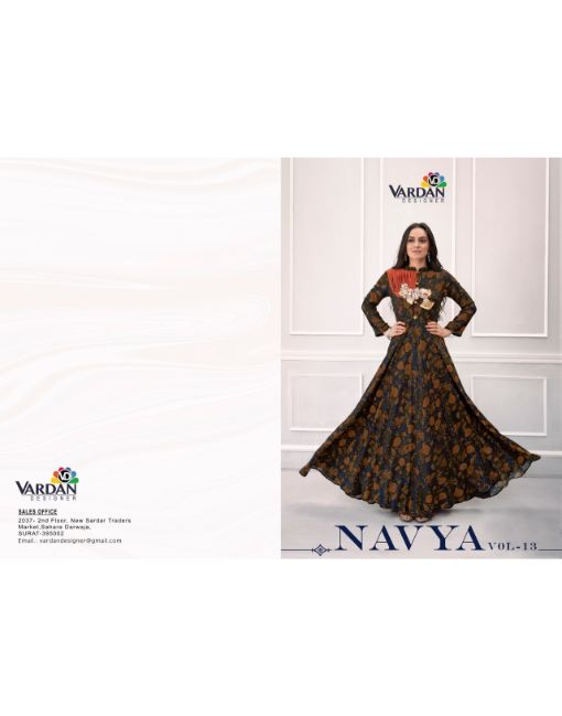 Rs 999 Pc Navya Vol 13 Stitched Kurti Wholesale Catalog 07 pcs