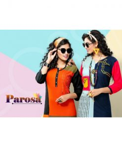 Rs 370 Piece - Parosa Stitched Kurti Wholesale Catalog 10 pcs