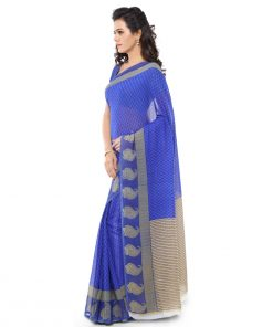 Blue Jute Silk Everyday Wear Printed Saree