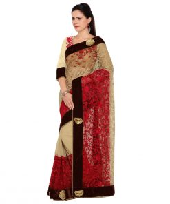 Beige Chiffon , Faux Georgette Partywear Embroidered Saree