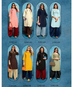 Rs 549 Pc Trendy Queen Kurti With Palazzo Wholesale Catalog 08 pcs
