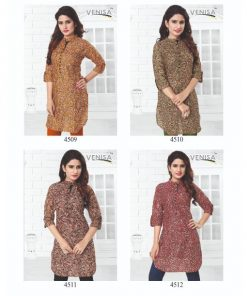 Rs 199 Pc Venisa Western Culture 5 Stitched Kurti Wholesale Catalog 04 pcs