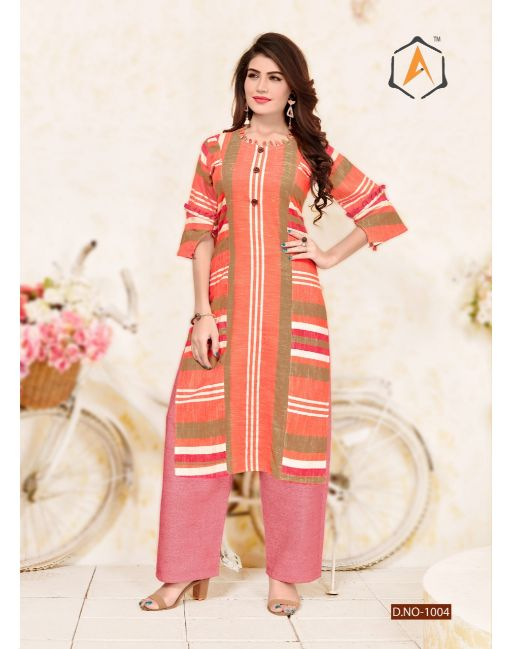 Rs 602 Pc Apple Kurti With Palazzo Wholesale Catalog 06 pcs