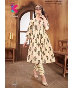 Rs 567 Pc Faraah Kurti With Pant Wholesale Catalog 08 pcs
