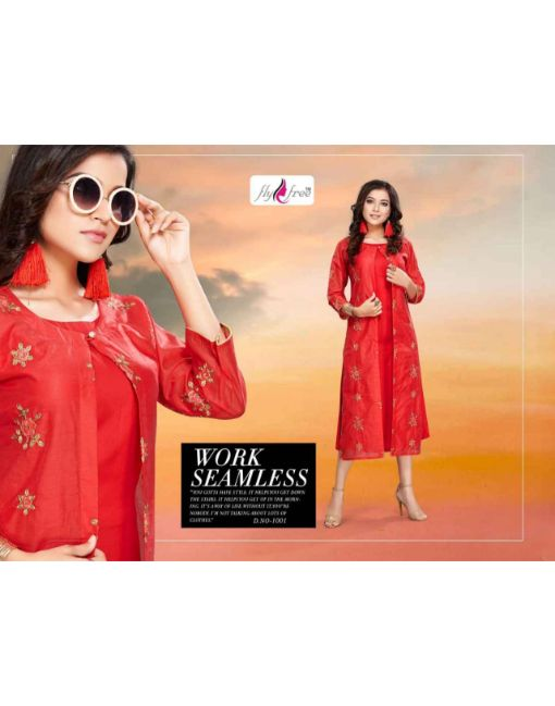 Rs 721 Pc Fly Free Veda 2 Kurti With Jacket Wholesale Catalog 06 pcs