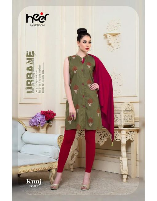 Rs 390 Pc Heer By Kersom Kunj Kurti With Scarf Wholesale Catalog 08 pcs
