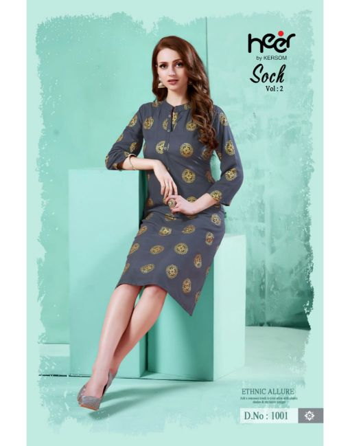 Rs 339 Pc Heer By Kersom Soch Vol 2 Stitched Kurti Wholesale Catalog 08 pcs