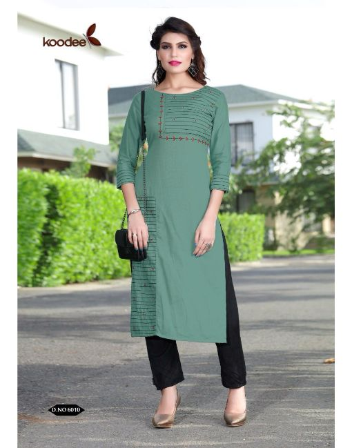 Rs 425 Pc Koodee Pixel Vol 2 Stitched Kurti Wholesale Catalog 06 pcs