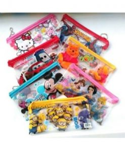 Cartoon characters printed clear kids pen/pencil pouch (Pack of 20)